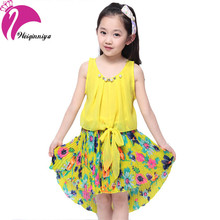 New Brand 2016 Kid Dress Sleeveless Patchwork Flower Girls Dress Mermaid Princess Bow Vestido Infantil Children's Clothing