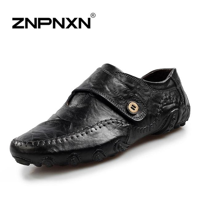 Znpnxn из натуральной кожи мужской обуви весна лето мужчины свободного покроя обувь ...