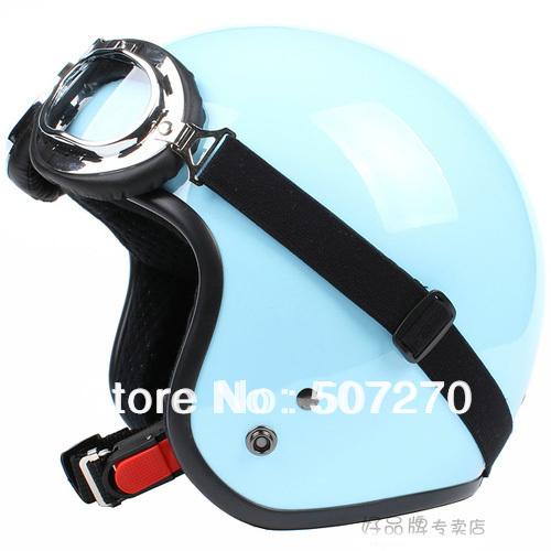 "E.25 3/4 Taiwan "" SYC "" Retro ABS Motocross Casco Open Face Helm Motorcycle Full Gloss Sky Blue Helmet & UV Goggles Adult Summer(China (Mainland))"