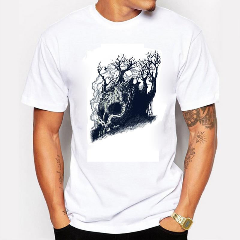 The Summer Men T-shirt Death Tree Print Creative Shirts Cool Cotton Tshirt Short Sleeve Streetwear Swag T shirts Plus Size(China (Mainland))