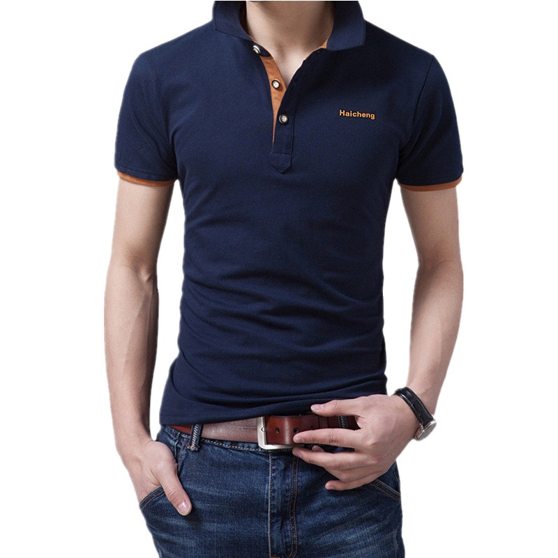 2016 classic new solid polo shirt business casual men for Business casual polo shirt