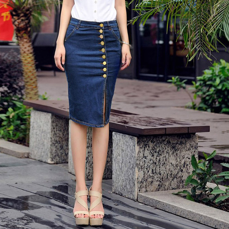 Hot Sexy Women Denim Nice Hip Cowgirls Long Bodycon Pencil Jeans Buckle Skirts(China (Mainland))