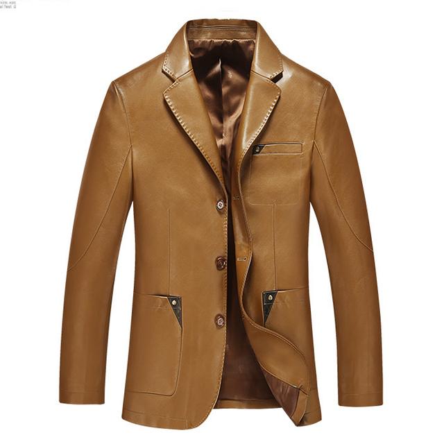 Мужчины кожаный костюм 2015 осень и зима blazer мужской овчины костюм топы натуральная кожа тонкая куртка черный коричневый пальто