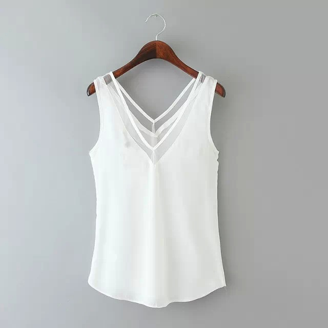 Free Shipping New Women V Neck Vest Top Slim Casual Sexy Tee Mesh Sleeveless Summer Hollow