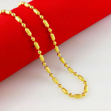 2014 New Fashion,Colorfast 45cm vacuum plated 24K Gold Necklace, gold chain for women/men,Free Shipping,B014(China (Mainland))