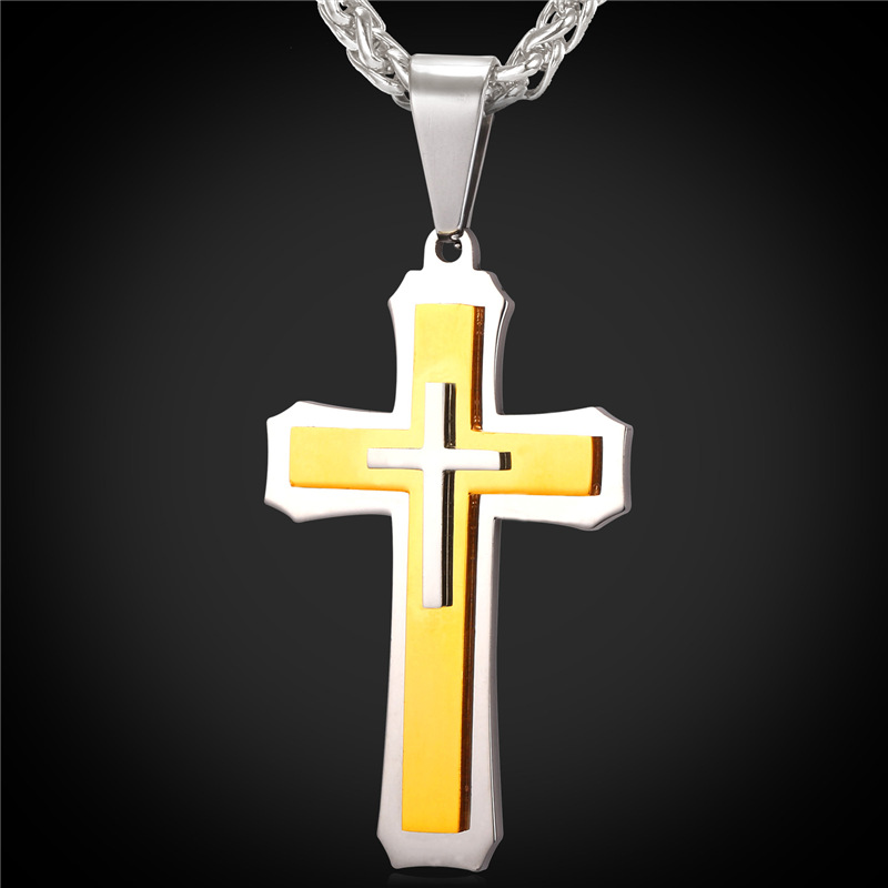 Two Tone 3 Cross Necklace Men Gold Plated/Stainless Steel Chain 22'' Cross Pendant Necklace Mens Jewelry Christmas Gift GP1719(China (Mainland))