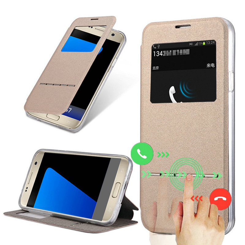 Luxury Matte Flip Case For Samsung Galaxy S7 Edge / S7 PU Leather Cover + Soft Silicone Back View Window Coque Smart Slide Black(China (Mainland))