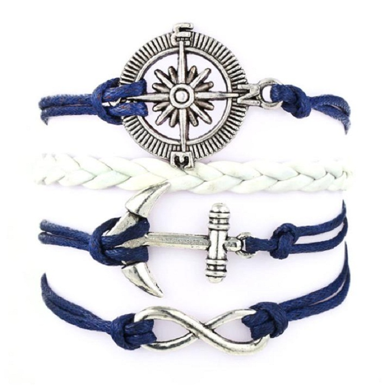 JU 9 Fairy Store Handmade Infinity Anchors Rudder Compass Leather Weave Jewelry Bracelet(China (Mainland))