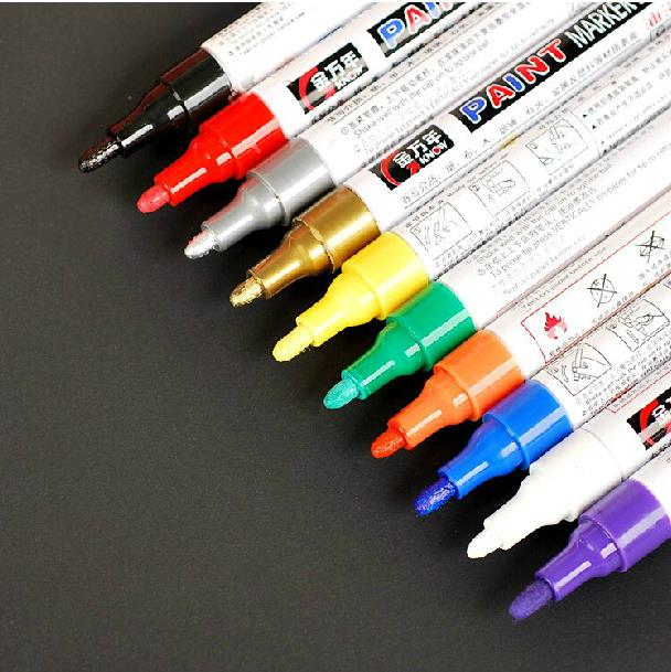 3 Colors Tyre Permanent Paint Pen Tire Metal Outdoor Marking Ink Marker Creative black , white , sliver L0192556(China (Mainland))
