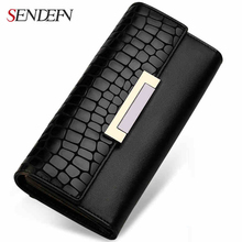 Vintage Genuine Leather Long Hasp Woman Wallets Designer Brand Clutch Card Holder Purse Lady Party Handbag Money Bag