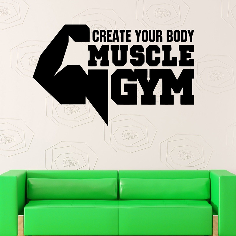 2016 New Product Bodybuilding Pattern Wall Sticker 3D Visual Effects Home, Gym Room Decorative Wall Art Life Is Exercise Decals(China (Mainland))