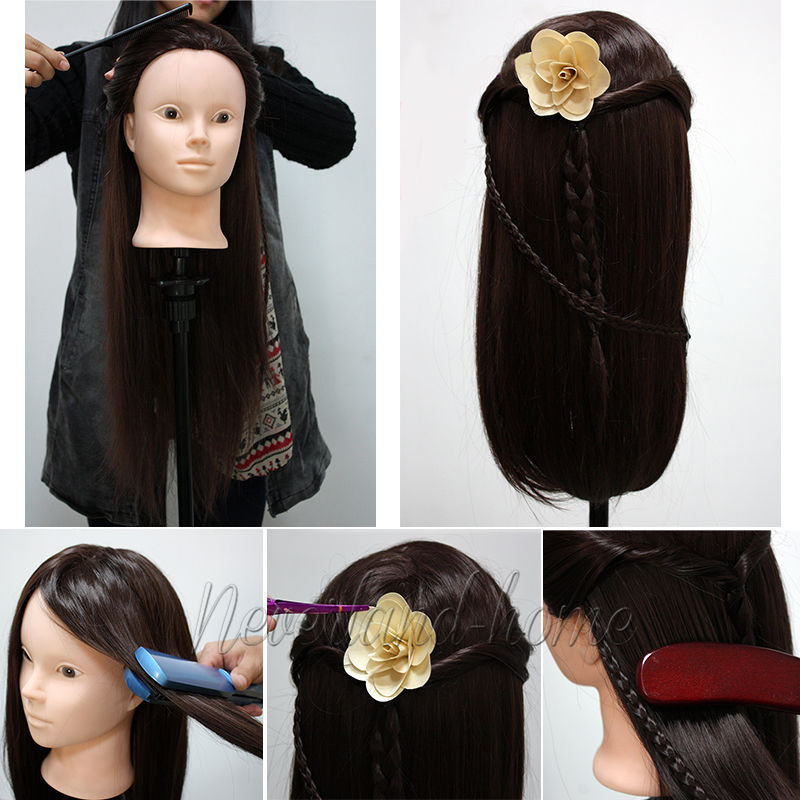 New Arrival! Makeup Practice Model 24'' 50% Real Human Hair Training Head Mannequin+Free Clamp Free shipping C20(China (Mainland))