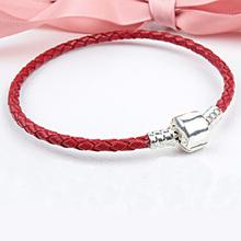 Free Shipping Silver Plated Genuine Leather Bracelet Fit Women Pandora Bead Bracelet with Brand LOGO European Charm Bead Jewelry(China (Mainland))