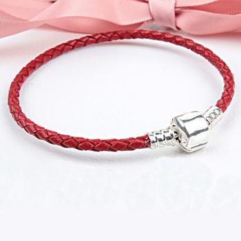 Free Shipping Silver Plated Genuine Leather Bracelet Fit Women Pandora Bead Bracelet with Brand LOGO European Charm Bead Jewelry