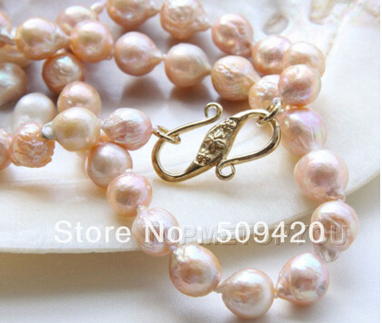 free shipping >>beautiful! 10mm Natural pink Reborn Keshi pearls necklace(China (Mainland))