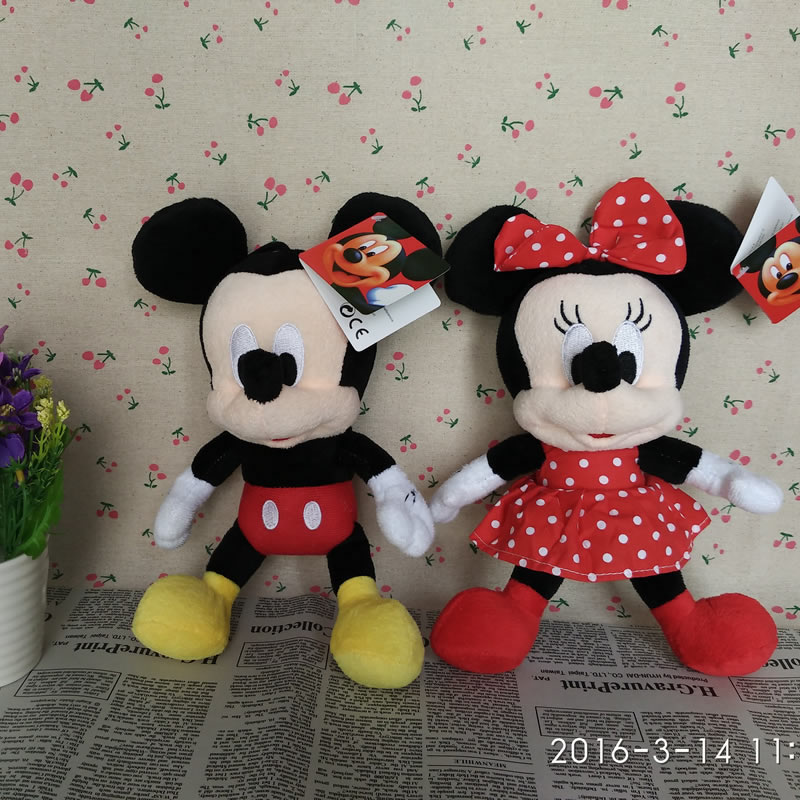 Free Shipping 28cm 1pairs Lovely Mickey Mouse And Minnie mouse plush Animal Toys,Mickey And Minnie plush dolls ,Christmas Gifts(China (Mainland))