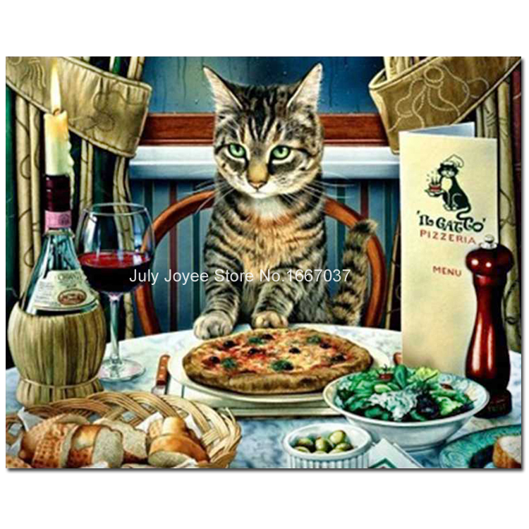 Cat on the dinner table all of foods A set of diamond embroidery Diamond cross stitch animal Painting of crystals hobby crafts(China (Mainland))