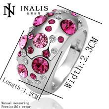 R076 Free Shipping Vintage 18K Gold Wedding Rings Fashion Women Ruby Jewelry Austrian Crystal Rings Cheap