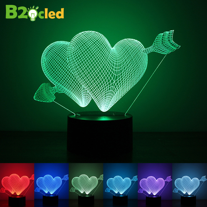NEW Love heart 3D Visual Led Night Lights Colorful USB Charge LED nightlight creative gift novelty night lamp Lovers confession(China (Mainland))