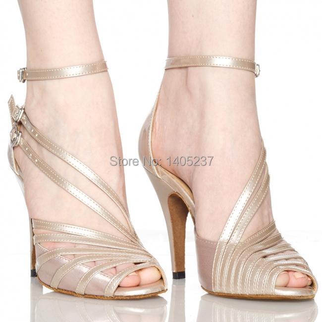 In Stock Women's Latin Dance Shoes Customize Heel Satin Buckle Ballroom Dancing Shoes for Women Shoes Black/Gray/Nude/Rainbow(China (Mainland))