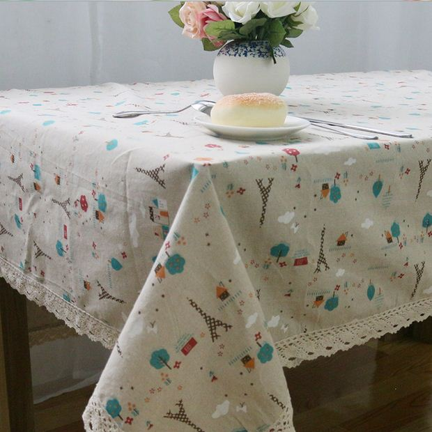 European Style Linen Table Cloth Country Flower Tower Printed Multifunctional Rectangle Table Cover with Lace Edge ZB-25(China (Mainland))