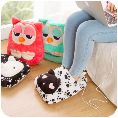 Retail 1 piece 2014 high-end fashion USB cartoon feet warmer detachable electric heating shoes warm heating slipper pad t12002(China (Mainland))