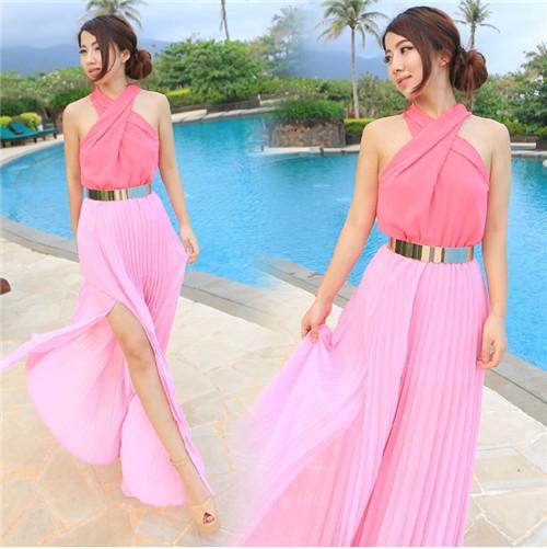 Vestidos De Baño Estilo Halter:Pink and Blue Summer Maxi Dress