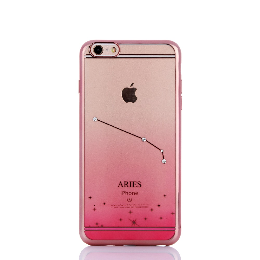 4.7 inch TPU Hand Phone Back Case with Original Swarovski Crystal Aries Constellation Case for iPhone 6 / 6s(China (Mainland))