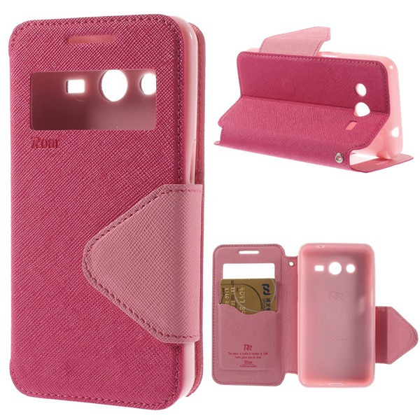 SamSung g355h case Roar Korea Diary Cross Texture Window View Leather Case Samsung Galaxy Core 2 G355H Stand - China Fly store