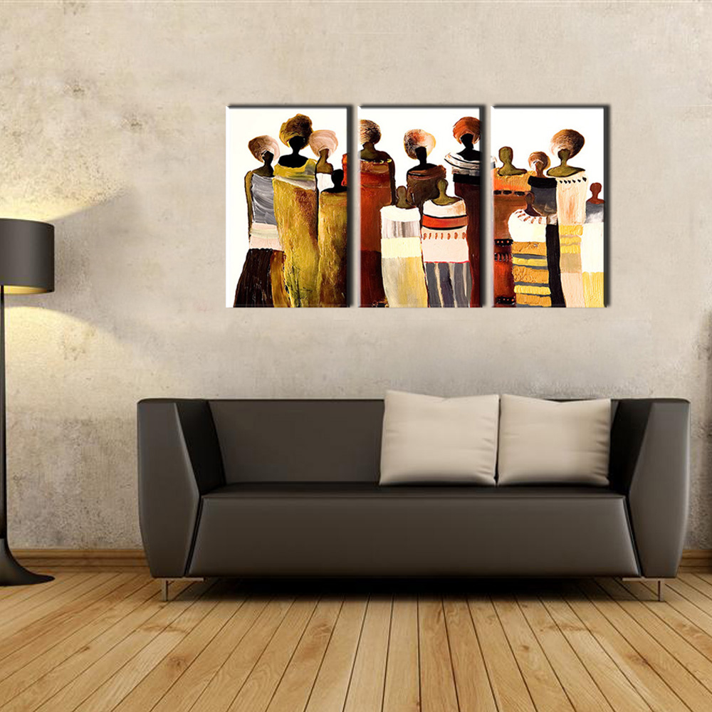 3 Piece Modern Canvas Art Handmade African Women Oil Painting On Canvas For Living Room Wall