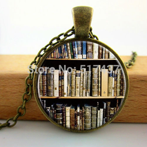2015 New Art Glass Dome Library Book Case Necklace Vintage Style Gift for Students Teachers Glass Cabochon Necklace(China (Mainland))