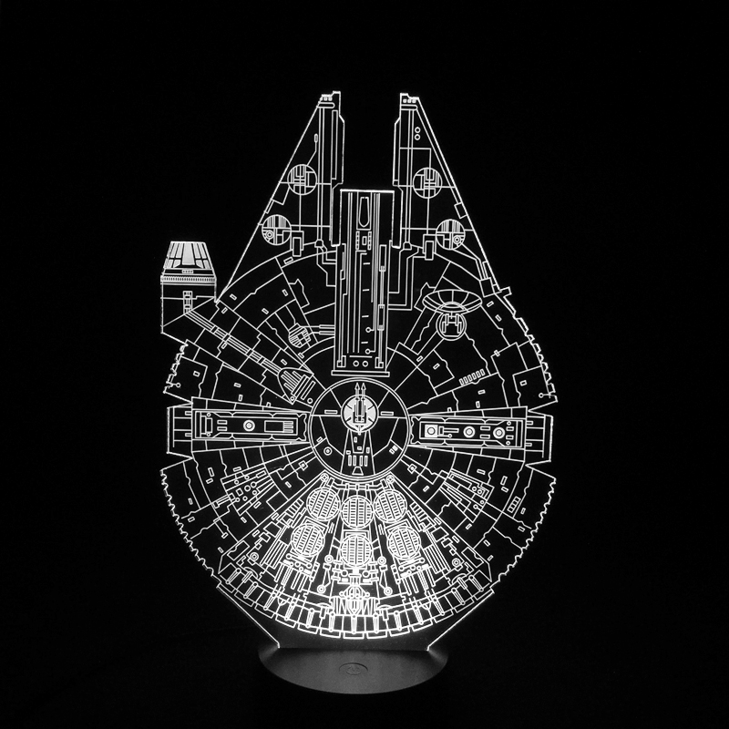 Star Wars Millennium Falcon 3D LED Night Light 7Colorful Atmosphere Lamp Novelty Lighting(China (Mainland))