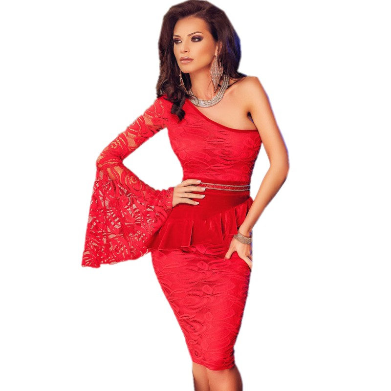 Sexy club dresses 2015 new arrival red lace dress one shoulder bell sleeve red peplum dress vestidos de fiesta elsa adult dress(China (Mainland))