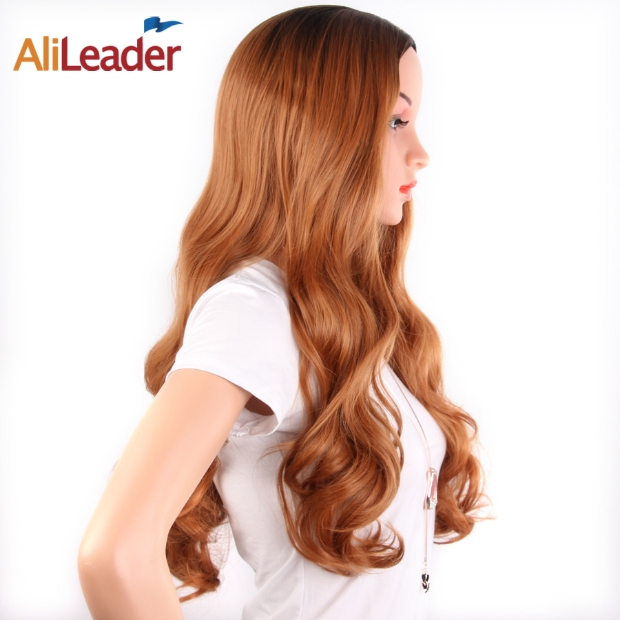 AliLeader Products African Afro Wig Brown Perruque Ombre Wigs Synthetic Hair 26 Inch Long Body Wave Weave(China (Mainland))
