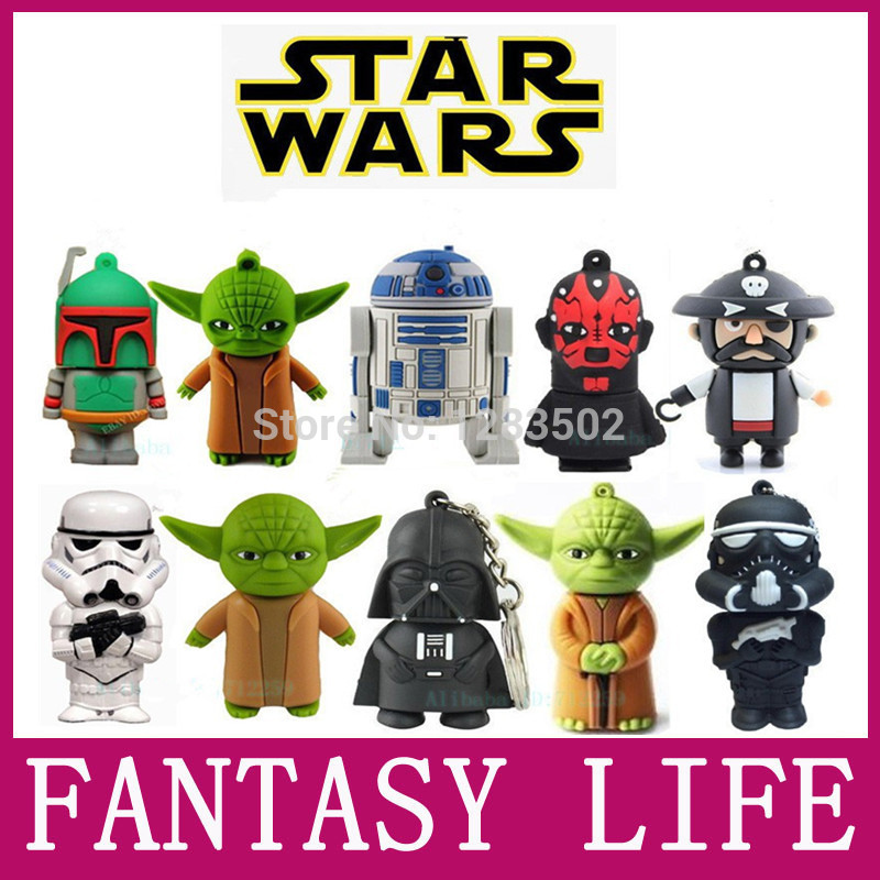 usb flash drive pen drive 4GB 8GB 16GB 32GB 64GB pen drive Wholesale Hot sale Fashion New star war funny robot USB 2.0 u disk(China (Mainland))