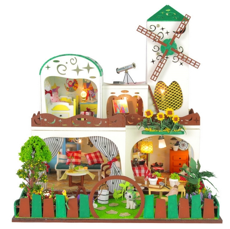 Green Windmill Large DIY Wood Doll house 3D Miniature Music box+Dust cover+Lights+Furniture Building model Home&Store deco toy(China (Mainland))