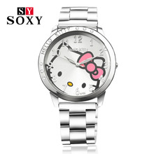 Full Steel Hello Kitty Watch Women Quartz WristWatch Cartoon Cute Watches Children 3D Crystal Fashion Relojes Christmas Gift(China (Mainland))