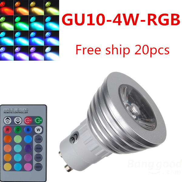 4W GU10 RGB LED Light Bulb 16 Color RGB Change 110V/220V with Remote for home party decoration atmosphere<br><br>Aliexpress