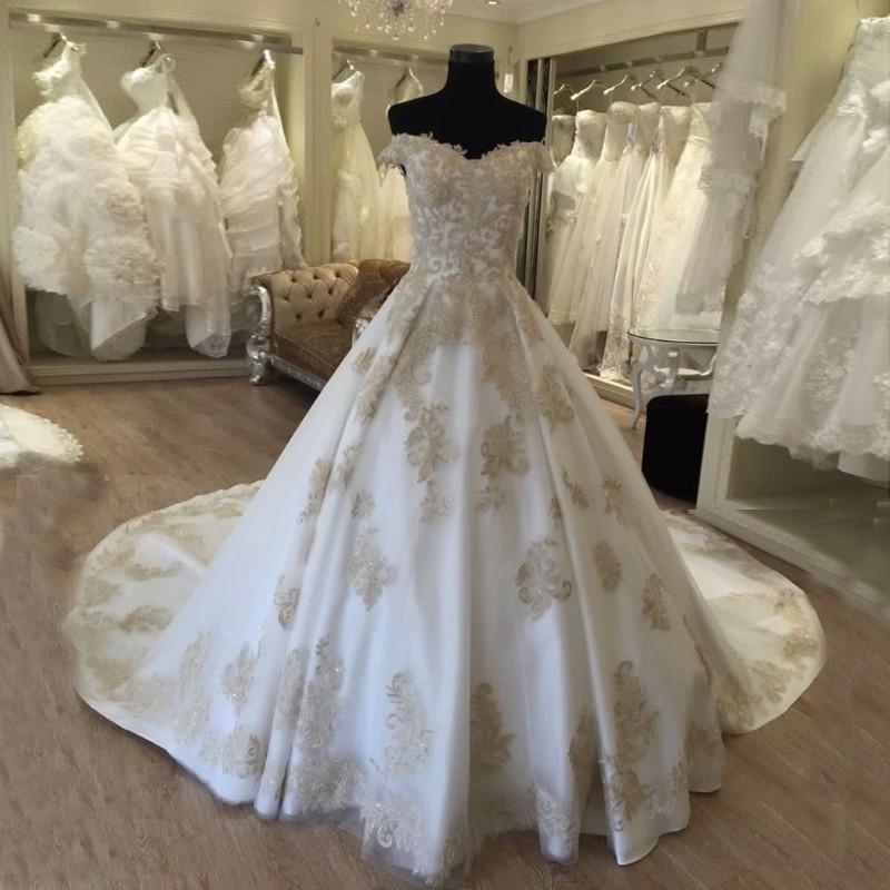Vestidos де noiva ком фото настоящее Роскошные Свадебные Платья Золотые Кружева Appliques Платья Невесты 2016 Платье де Casamento Trouwjurk