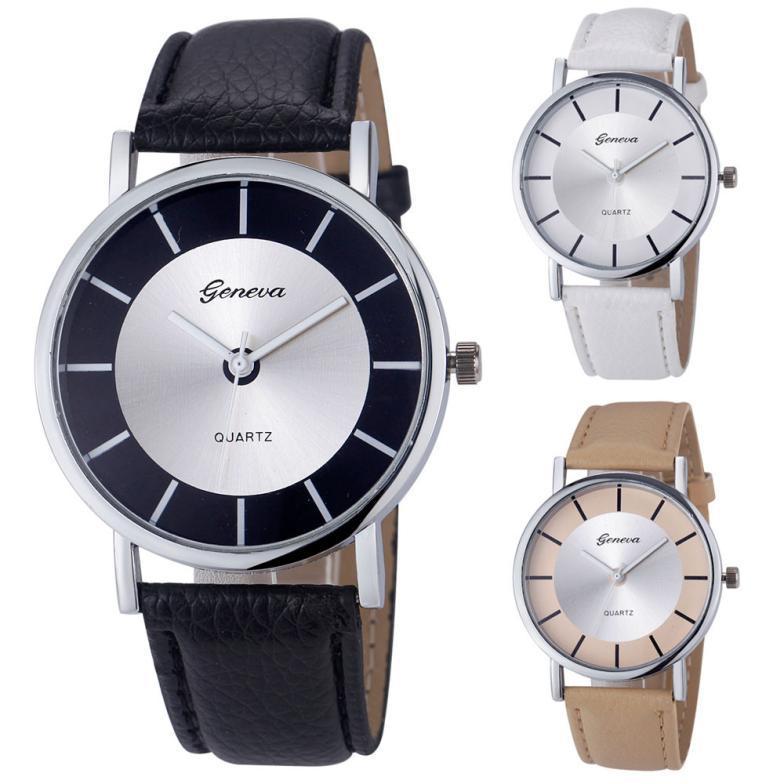 2015  Bestselling Geneva Round Women Fashion Retro Dial Leather Analog Quartz Wrist Watch Watches<br><br>Aliexpress