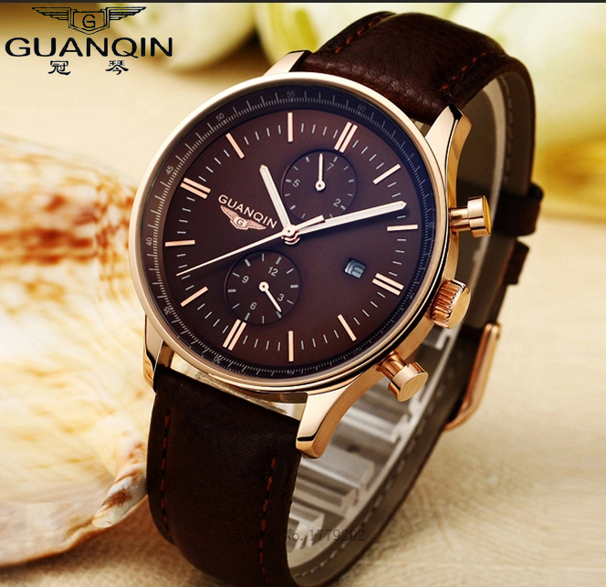Top Brand luxury GUANQIN Fashion Luminous Quartz Watches Men Leather Strap Waterproof Men Watch Relogios Masculino