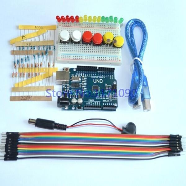 new Starter Kit UNO R3 mini Breadboard LED jumper wire button forArduino compatile(China (Mainland))