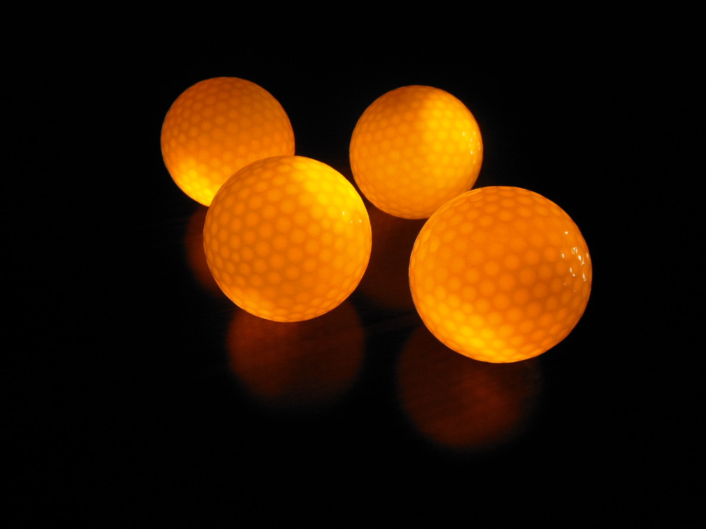 Hot selling 4pcs six colors available LED Golf Ball With Night Training Constant Shining Two Layer Golf PracticeBalls(China (Mainland))