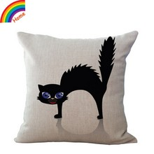 Black Cat Pattern Cotton Linen Throw Pillow Case Cushion Cover