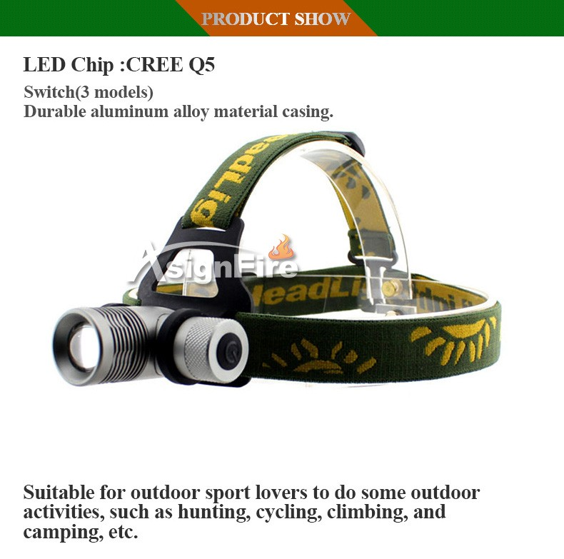 Headlamp 1000 Lumens 4 Color CREE Q5 LED Headlight Zoom LED Head Light With Green / Red / Blue Diffuser Cabeza Lampara