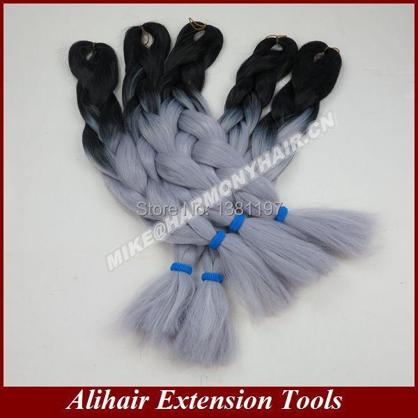 FREE Shipping (10PACKS/lot) 24inch100grams/pack Black&Grey Ombre Two Tone Coloured 100% Kanekalon Jumbo Box Braiding Hair(China (Mainland))