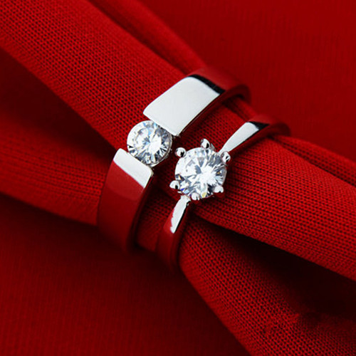 925 Sterling Silver CZ Diamond Pair of Wedding Ring Sets for Men and Women Promise Rings for Couples Imitated Diamond Jewelry(China (Mainland))