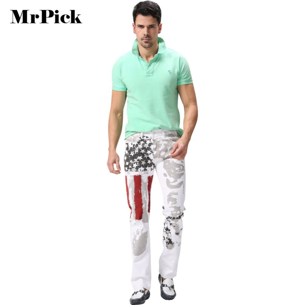 American Flag Men Jeans 2015 New Arrival Floral Print Straight Jean Pants USA Flag Fashion Pants for Men HD003(China (Mainland))