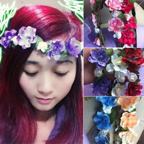 Women's Bohemian Floral Flower Rose Party Wedding Hair Wreaths Headband Hair Band 1SPW(China (Mainland))