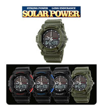 New sale super quaility  Mens Solar Power Waterproof Digital Date Alarm Quartz Rubber  Sports Watch